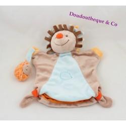 Doudou marionnette hérisson NATTOU Little Garden marron orange bleu 25 cm