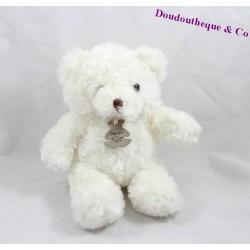 Doudou ours HISTOIRE D'OURS Calins blanc ivoire HO2533 Floraj 21 cm
