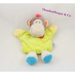 Doudou marionnette singe SUCRE D'ORGE vert jaune anis 24 cm