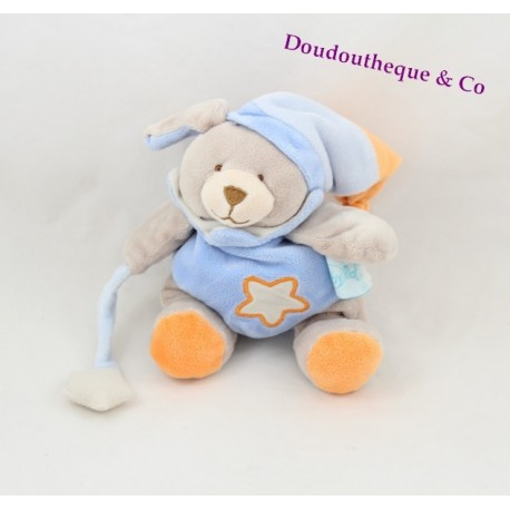 Doudou chien BABY NAT' Luminescent bleu orange étoile 20 cm