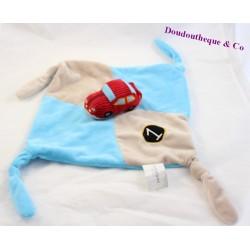 Doudou plat voiture CARRE BLANC CarréBlanc bleu beige  4 noeuds 28 cm
