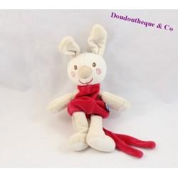 Doudou attache tétine lapin SUCRE D'ORGE rouge spirale 20 cm