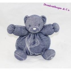 """Doudou boule ours KALOO Blue Denim jean """" K """" 18 cm"""