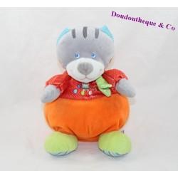 Doudou musical chat MOTS D'ENFANTS orange rouge 23 cm
