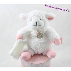Doudou mouchoir mouton DOUDOU ET COMPAGNIE Mon tout petit ... agneau blanc rose 18 cm