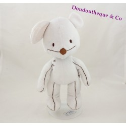 Peluche souris ITSIMAGICAL Imaginarium Vertbaudet blanc couture 29 cm