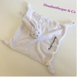 Doudou plat lapin CADET ROUSSELLE blanc et gris 4 noeuds 25 cm