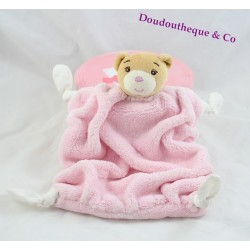 Doudou plat ours KALOO Plume rose 4 noeuds tissus 24 cm