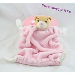 Flat doudou bear KALOO Pink feather 4 knots fabrics 24 cm