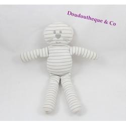 Doudou chat BOUT'CHOU rayé blanc gris coton Boutchou 27 cm