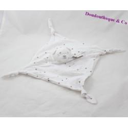 Doudou plat ours LULU CASTAGNETTE blanc gris étoile 4 noeuds 23 cm