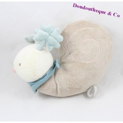 Peluche escargot DIMPEL beige bleu 18 cm