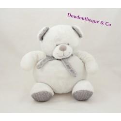 Doudou ours TEX BABY blanc gris écharpe pois 22 cm