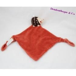 Doudou plat hérisson SUCRE D'ORGE orange marron noeuds 29 cm