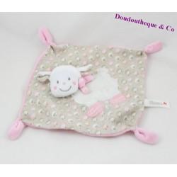 Doudou flat sheep NICOTOY pink grey lamb 22 cm