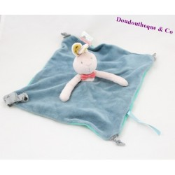Doudou flat rabbit MOULIN ROTY Miss and blue nodes string 23 cm