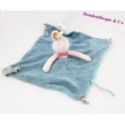 Doudou plat lapin MOULIN ROTY Mademoiselle et Ribambelle bleu noeuds 23 cm