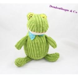 Plush frog LES DEGLINGOS green grooves 26 cm