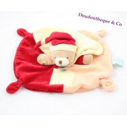 Doudou flat bear BABY NAT' pacap mem! orange yellow red 25 cm
