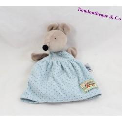 Doudou marionnette souris MOULIN ROTY La Grande Famille robe bleue 25 cm
