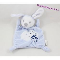 Doudou plat ours déguisé en lapin ZANNIER GRAIN DE BLE blanc / marron