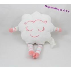 Doudou nuage BRIOCHE La Halle Kimbaloo blanc rose 28 cm