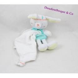 Doudou mouchoir lapin SUCRE D'ORGE Cajou indien gris vert 19 cm