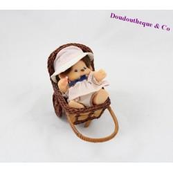 Figurine articulée bébé singe SEKIGUCHI Kiki le vrai robe chapeau landeau osier 13 cm