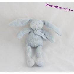 Doudou lapin SERGENT MAJOR bleu rayures blanche écharpe 26 cm