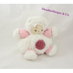 Doudou petit patapouf Poupon KALOO rose et blanc Collection Igloo 18 cm