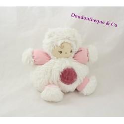 Doudou petit patapouf Poupon KALOO rose et blanc Collection Igloo 18 cm