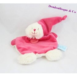 Doudou plat ours BABY NAT Calins rose BN070 18 cm