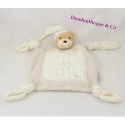 Doudou plat ours KALOO lin Dragée beige et blanc brodé fleurs
