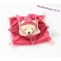 Doudou plat ours DOUDOU ET COMPAGNIE arlequin carré rose framboise 17 cm