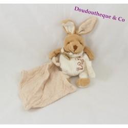 Doudou lapin DOUDOU ET COMPAGNIE bio mouchoir beige 14 cm