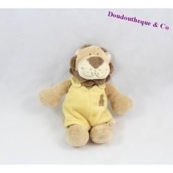 Doudou lion NOUKIE'S Hippoum, Baboum et Zamba salopette jaune 15 cm