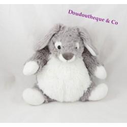 Doudou lapin CASINO gris très clair et  blanc corps mou 22 cm