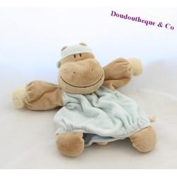Doudou marionnette hippopotame NOUKIE'S Les Douzous beige bleu 26 cm
