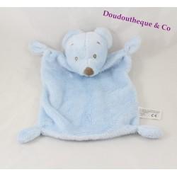 Doudou plat ours SIMBA TOYS BENELUX bleu ciel yeux brodés 24 cm
