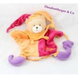 Doudou marionnette ours BABY NAT' arlequin orange rouge 24 cm