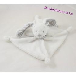 Doudou plat lapin SIMBA TOYS BENELUX blanc rayé gris bandana 23 cm
