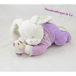 Plush musical rabbit TEX BABY purple bird lying 27 cm