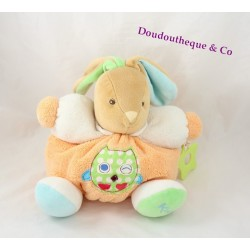 Peluche patapouf lapin KALOO Colors orange hibou vert medium 25 cm