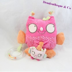Doudou of activity OWL TEX BABY nice pink Bell mirror 20 cm