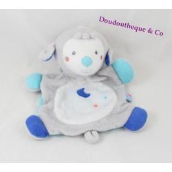Doudou plat mouton SUCRE D'ORGE lune bleu blanc gris 22 cm