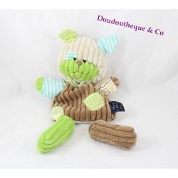 Doudou marionnette chien HISTOIRE D'OURS Bric à brac vert marron bleu côtelé