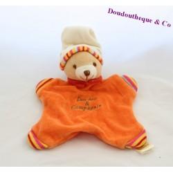 Doudou plat ours DOUDOU ET COMPAGNIE orange bonnet beige 22 cm
