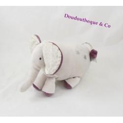 Doudou hochet éléphant MOULIN ROTY Aimé et Celeste beige 21 cm