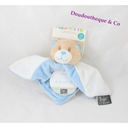 Doudou plat ours TOM & ZOE bleu blanc étoile 19 cm