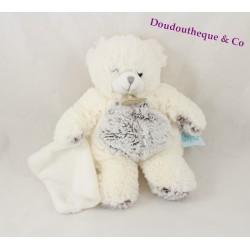 Doudou mouchoir ours BABY NAT' Les Flocons blanc marron chiné 21 cm